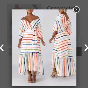 Creamsicle High Low Striped Dress size 1X